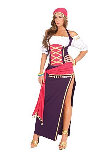 Sexy Gypsy Maiden Costume, Purple/White, M