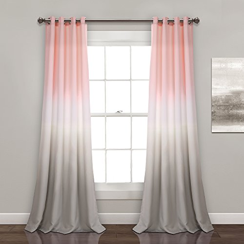 "Lush Decor Umber Fiesta Curtains Room Darkening Window Panel Set for Living, Dining, Bedroom (Pair), 84"" x 52"", Blush and Gray, 2 Count"