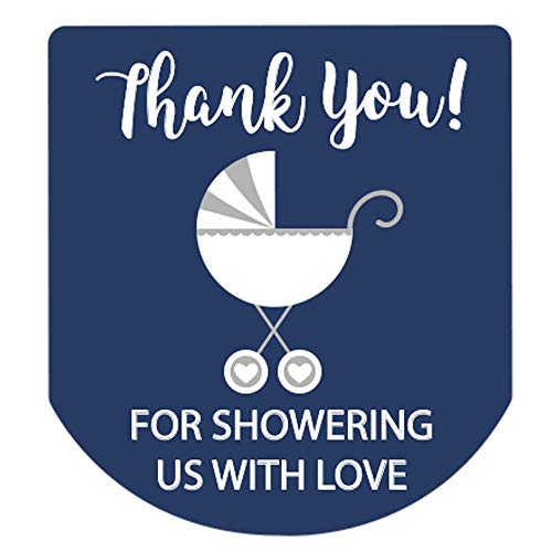 90 Hand Sanitizer Labels Thank You Stickers Boy Baby Shower Stickers (Navy)