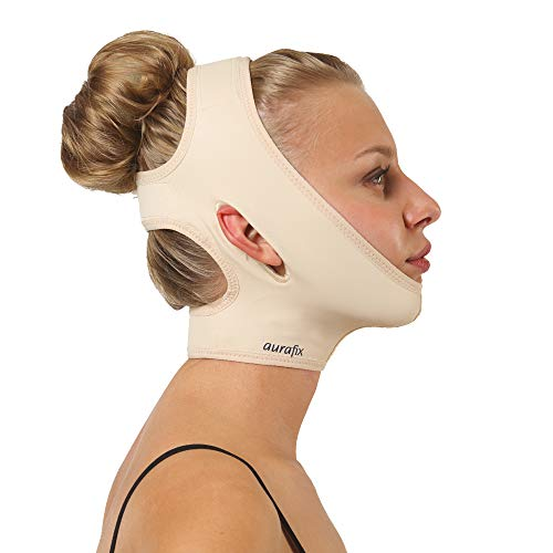Post Surgical Chin Strap Bandage for Women - Neck and Chin Compression Garment Wrap - Face Slimmer, Jowl Tightening, Chin Lifting (Beige, M)