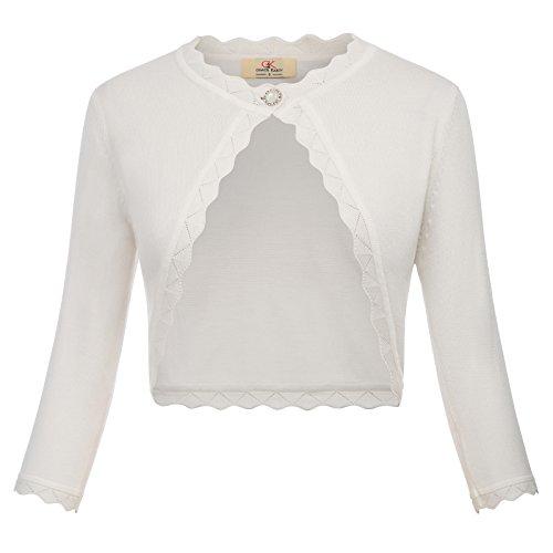 GRACE KARIN Womens 3/4 Sleeve Cropped Knit Shrug Bolero White Size S CLAF1062-3