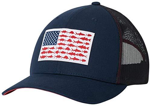 Columbia Men's PFG Fish Flag Snapback Ball Cap,Collegiate Navy, Sunset Red,One Size