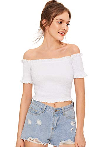 WDIRARA Women's Off The Shoulder Crop Tops Short Sleeve Ruch Lettuce Trim Blouse Tee White M