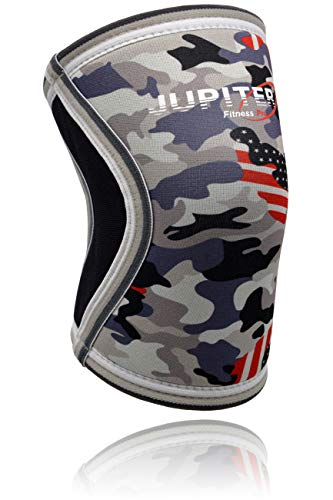 Elbow Sleeves (1 Pair) Support & Compression for Weightlifting, Powerlifting, Tennis, Basketball - 5mm Neoprene Sleeve Perfect for Both Men & Women (Large, Grey Camo+)
