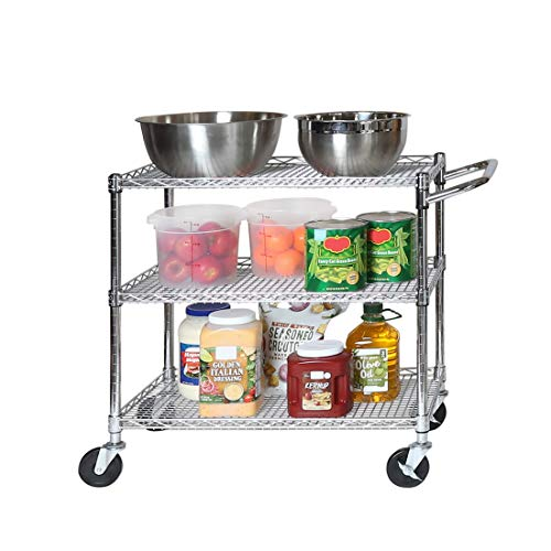 Seville Classics 3-Tier UltraDurable Commercial-Grade NSF-Certifed Storage Utility Service Cart, 34' W, Chrome