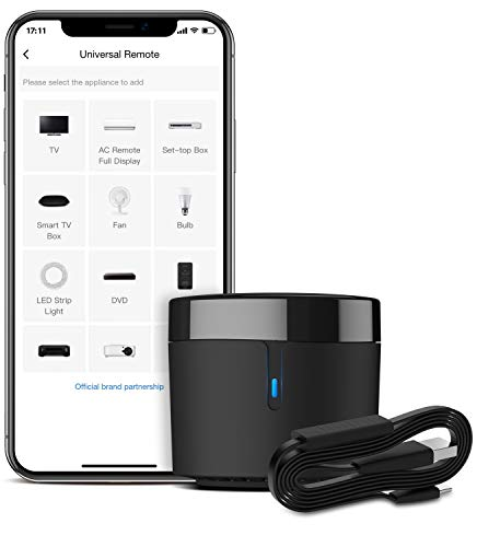BroadLink Smart IR Remote Control Hub with Temperature Humidity Sensor Cable-WiFi IR Blaster for Smart Home Automation, TV Remote, Smart AC Controller, Works with Alexa/Google Home, IFTTT (RM4 Mini S)