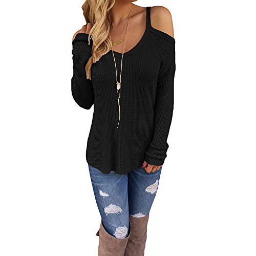 Eiffel Women's Cold Shoulder Knit Long Sleeves Pullover Sweater Tops Blouse Tunic Black, Medium