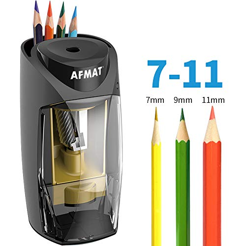 AFMAT Pencil Sharpener for Colored Pencils, Pencil Sharpener Large Hole, Colored Pencil Sharpener, 7-11mm Pencils Electric Sharpener with Power Adapter for Artist/School/Classroom/Home/Office