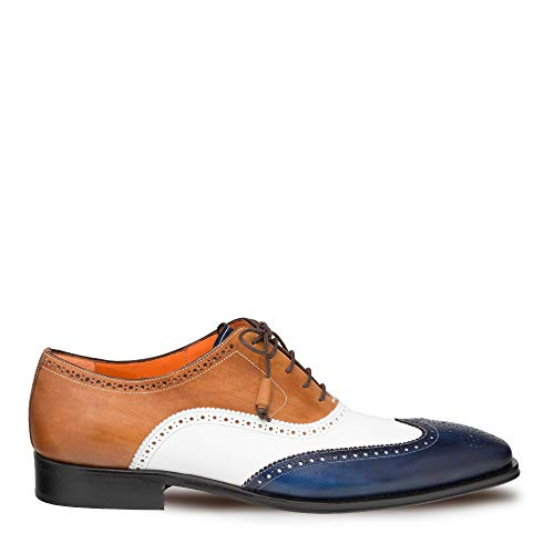 Mezlan Stratos - Mens Luxury Lace-Up Dress Shoes - Multi-Tonal Classic Bal Oxfords with Leather Sole - Handcrafted in Spain - Medium Width (Blue/Multi, 10.5)
