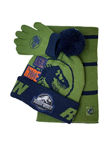 Jurassic Park Winter Hat Glove & Scarf Set with Gift Box for 5-13 Years Boys