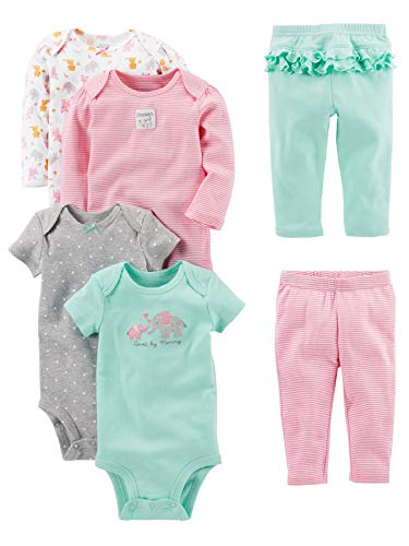 Simple Joys by Carter's Baby Girls' 6-Piece Little Character Set, Pink/Mint Ruffle, 12 Months