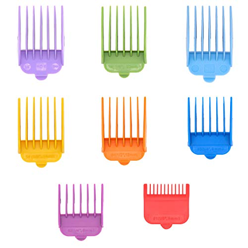 Professional Hair Clipper Guide Combs for Wahl replacement guards Set,8 Color and Sizes Attachment Guide Comb,Great Fits for Wahl Clippers/Trimmers