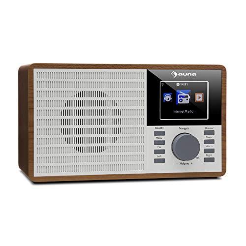 auna IR-160 Internet Radio - Radio Alarm, Digital Radio, WLAN, MP3/WMA-compatible USB Port, AUX, Alarm Clock, Music Streaming via UPnP, 2.8' TFT Color Display, Retro Look, Remote Control, Brown