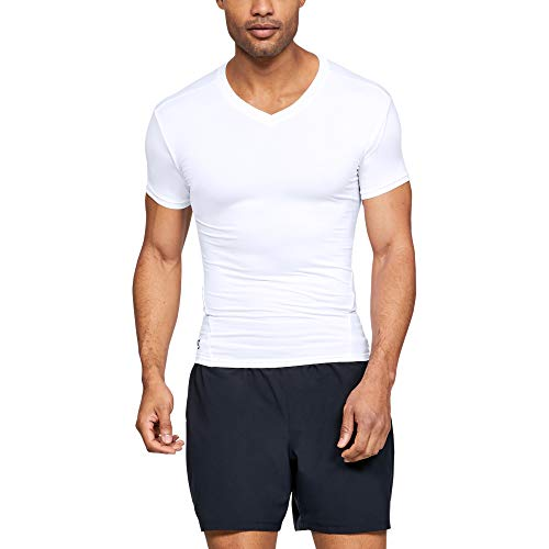 Under Armour Men's HeatGear Tactical V-Neck Compression Short-Sleeve T-Shirt , White (100)/Clear , Large