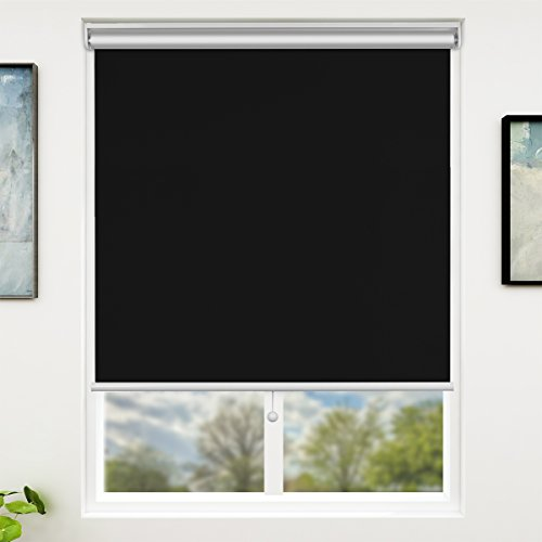 SUNFREE Blackout Window Shades Cordless Window Blinds with Spring Lifting System for Home & Office, 31 x 72 Inch, Black