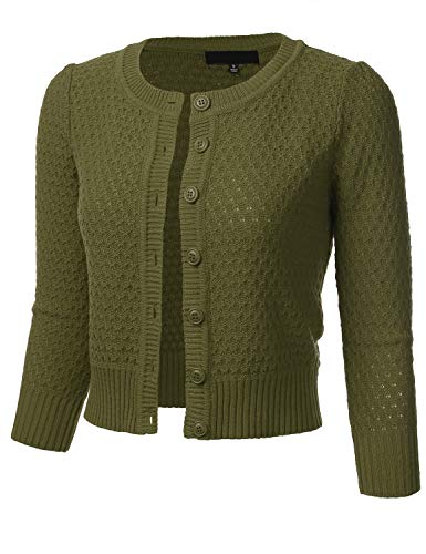FLORIA Women's Button Down 3/4 Sleeve Crew Neck Cotton Knit Cropped Cardigan Sweater Olive M