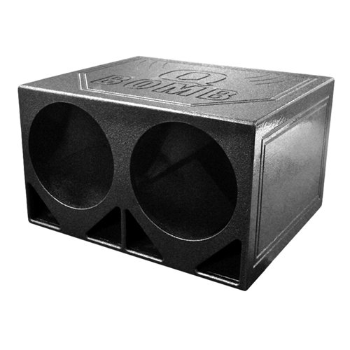 Q Power QBOMB12TB Dual 12-Inch Triangle Ported Speaker Box with Durable Bed Liner Spray