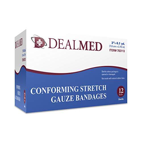 Dealmed 3' Sterile Conforming Stretch Gauze Bandages, 4.1 Yards Stretched, 12 Rolls