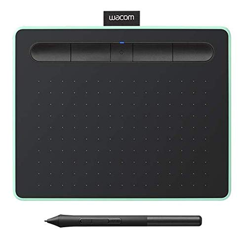 Wacom CTL4100WLE0 Intuos Wireless Graphics Drawing Tablet with 3 Downloadable Software Programs, 7.9' X 6.3', Black with Pistachio Accent, Small