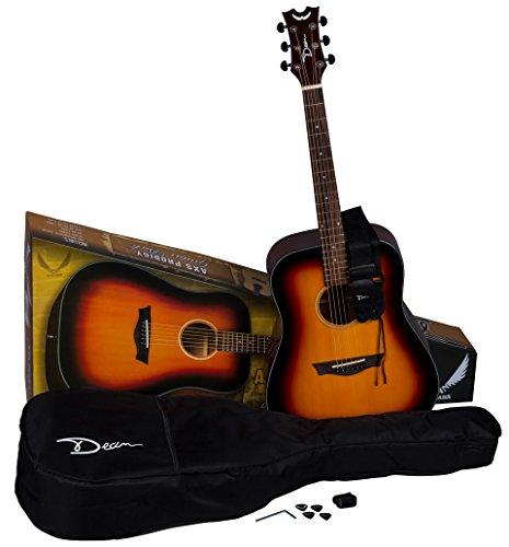 Dean Guitars 6 String Dean AXS Prodigy Acoustic Guitar Pack-Tobacco Sunburst PDY TSB PK