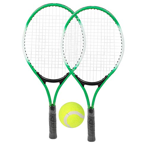 DaMohony Tennis Racket Iron Alloy Children Beginner Practice Racquet with Ball and Carry Bag Lightweight Padded Adjustable Shoulder Strap for Kids Adult