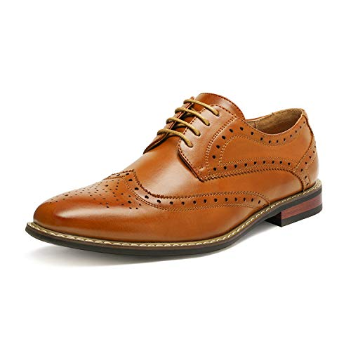 Bruno Marc Moda Italy PRINCE-03 Men's Classic Modern Oxford Wingtip Lace Dress Shoes Brown Size 10.5