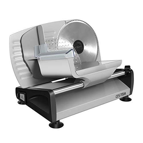 Meat Slicer 200W Electric Deli Food Slicer with Child Lock Protection, Removable 7.5'' Stainless Steel Blade and Food Carriage, Adjustable Thickness Food Slicer Machine for Meat, Cheese, Bread