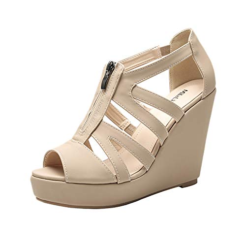 Mila Lady Lisa 5 Strappy Open Toe Platform Wedges Heeled Sandals Shoes for Women Nude 8.5