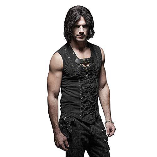 Punk Rave Rock Mens Dress Vest Leather Belt Cotton Casual Tank Tops Cross Strap Black Vest (XL)
