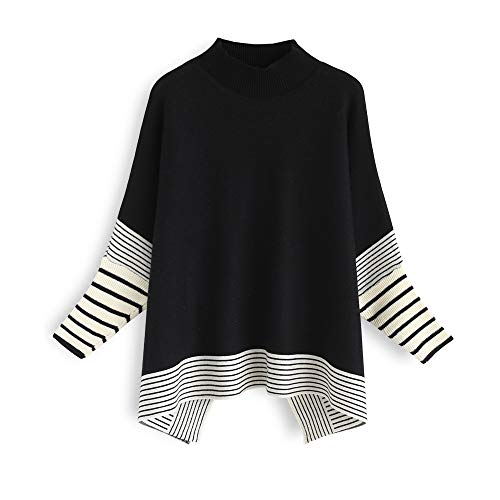 Chicwish Women's Black Striped Oversize Soft Knit Cape Sweater Pullover