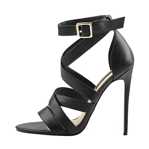 MissHeel Ankle Strap Open Toe Sandals for Women Heels Cross Strap Stiletto Summer Pumps Shoes Black Size7