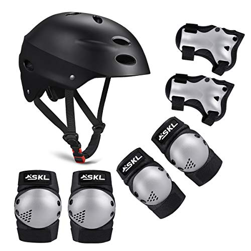 Kids Bike Helmet Sports Protective Gear Set Suitable for Ages 3-8 Years Toddler Boys Girls Knee Pads Elbow Pads Wrist Pads for Bike Bicycle Skateboard Scooter Rollerblading (Light Dark)