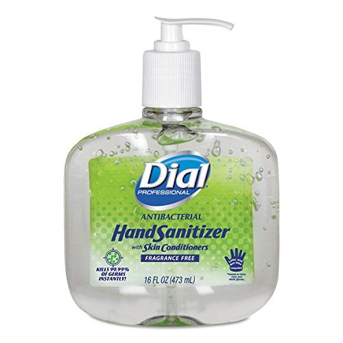 Dial Professional 00213 Gel Hand Sanitizer, 16oz, 8/CT, Clear