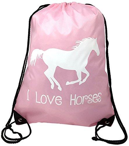 Horse Backpack-Pink,'I Love Horses' Drawstring Bag -Cute Horse Themed Gift for Girls
