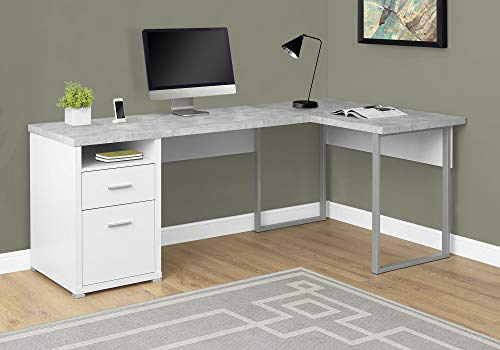 Monarch Specialties Computer Desk Left or Right Facing White / Cement-Look 80'L