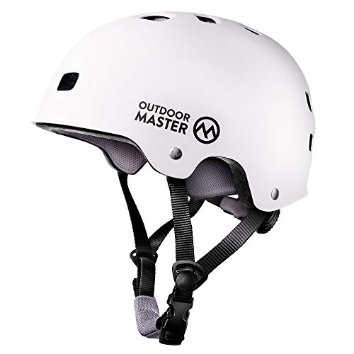 OutdoorMaster Skateboard Cycling Helmet - ASTM & CPSC Certified Two Removable Liners Ventilation Multi-sport Scooter Roller Skate Inline Skating Rollerblading for Kids, Youth & Adults - M - White