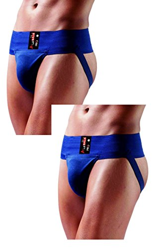 AllsBalls Jockstrap Gym Cotton Supporter with Cup Pocket Gym, Fitness & Outdoor Inner Wear Soft Underpants (2 Pack Navy Blue, Large)