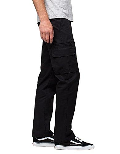 Dickies Men's Regular Straight Stretch Twill Cargo Pant, Black, 34x32