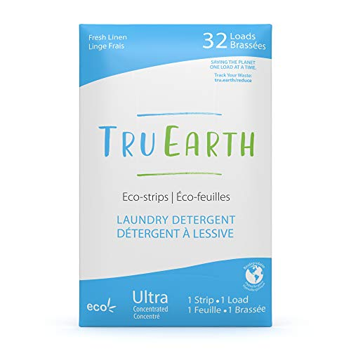 Tru Earth Eco-friendly Ultra Concentrated Compostable & Biodegradable Plastic-Free Laundry Detergent Eco-Strips (32 Loads, Fresh Linen Scent)