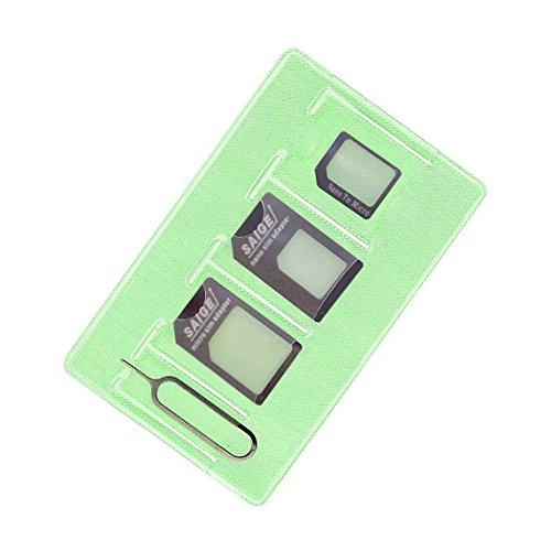 Sim Card Adapter kit includs Nano Sim Adapter / Micro Sim Adapter / Needle / storage sheet ,Easy to use and storage (Black Saige)