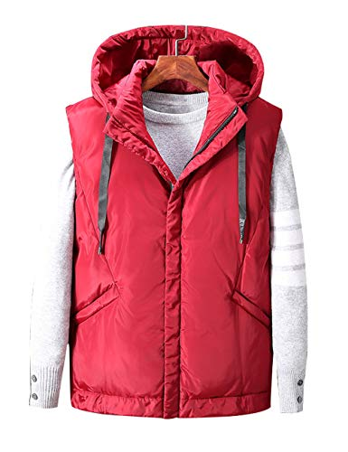 Zoulee Men's Puffer Vest Padded Vest Men Sleeveless Jacket Removable Hooded Winter Outwear Jacket Style 2 Red XL