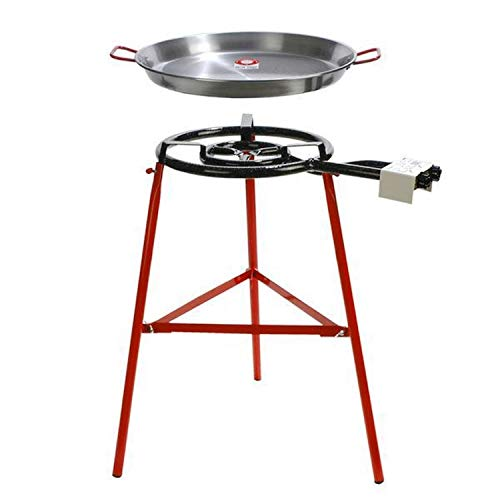 Garcima Tabarca Paella Pan Set with Burner, 20 Inch Carbon Steel Outdoor Pan and Reinforced Legs Imported from Spain (14 Servings)