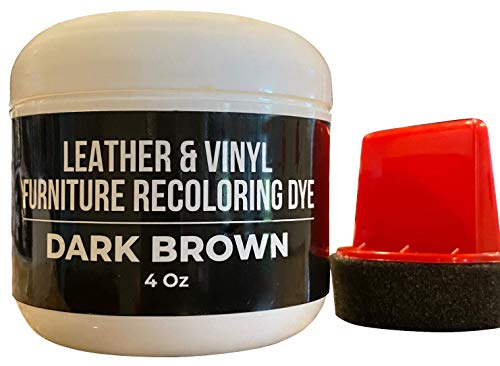 Dark Brown Leather Recoloring Dye - Couch Leather Repair Kits- Leather Restorer for Couches, Furniture, Car Seat, Boots -Dark Brown Leather Dye- Furniture Hero