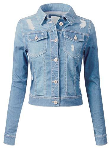 Design by Olivia Women's Long Sleeve Crop Top Button Up Comfort Stretch Denim Jacket Light Denim 3X