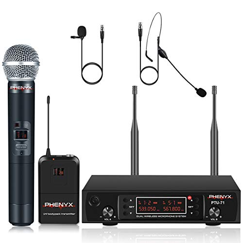 Phenyx Pro UHF Wireless Microphone System, Cordless Handheld/Bodypack/Lapel/Headset Mic Set, Multichannel,Professional Long Distance Performance, Ideal for Presentation, PA, Church (PTU-71-New)