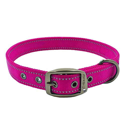 Max and Neo MAX Reflective Metal Buckle Dog Collar - We Donate a Collar to a Dog Rescue for Every Collar Sold (Large, Pink)