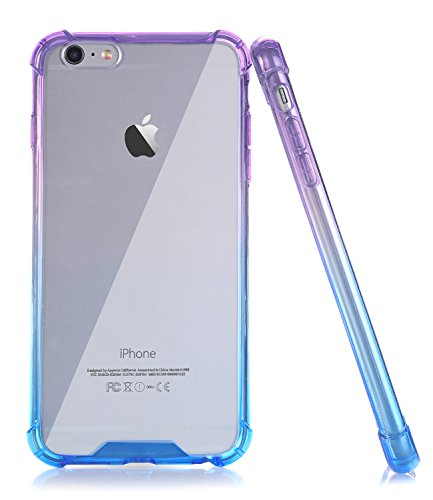BAISRKE Clear Case for iPhone 6 6s, Shock Absorption Flexible TPU Soft Edge Bumper Anti-Scratch Rigid Slim Protective Cases Hard Plastic Back Cover for iPhone 6 6S - Blue Purple Gradient
