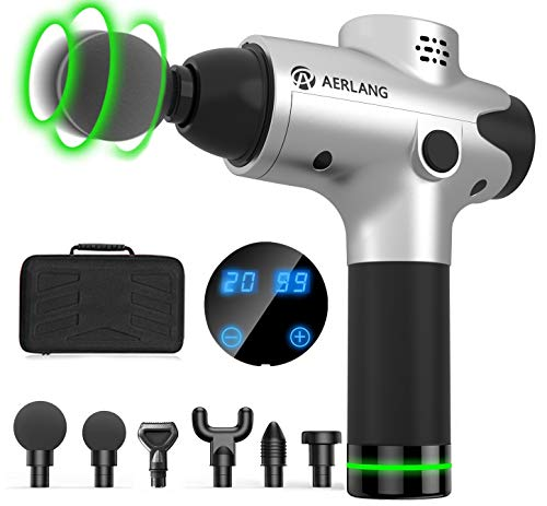 AERLANG Massage Gun for Athletes, Portable Quiet Muscle Massager Professional Deep Tissue Massage Gun for Pain Relief 20 Variable Speeds Digital Display- Includes 6 Massage Heads 2500mAh,(Silver)