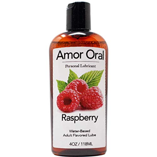 Amor Oral Raspberry Flavored Lube, Edible and Body Safe, Water-Based Personal Lubricant 4 Ounce Raspberry