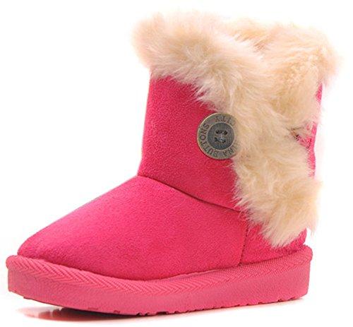 Femizee Girls Boys Warm Winter Flat Shoes Bailey Button Snow Boots(Toddler/Little Kid),Hot Pink,1 M US Little Kid